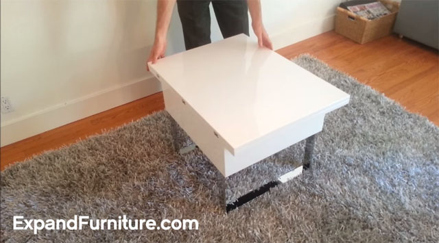 Space Saving Table Demonstration Lifting And Folding By Expand