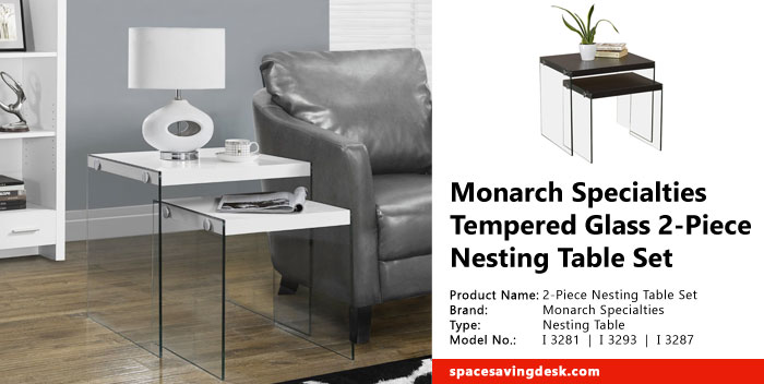 Monarch Specialties Tempered Glass 2-Piece Nesting Table Set Review ...