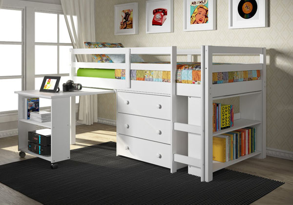 donco white twin low loft bed and desk review - Space Saving Desk