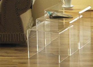 HomCom 3pc Acrylic Stackable Nesting End Side Table Set Review