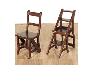 Cool Finds: Benjamin Solid Mahogany Convertible Ladder Chair Library Step Stool By MBW Furniture