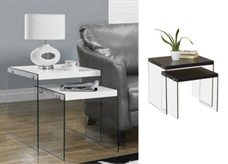 Monarch Specialties Tempered Glass 2-Piece Nesting Table Set Review