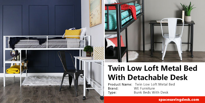 Twin Low Loft Metal Bed With Detached Desk Review