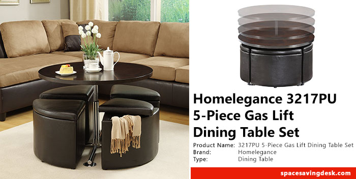 Homelegance 3217pu 5 Piece Gas Lift Dining Table Set